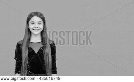 Smile To Make Lasting Impression. Happy Kid Orange Background. Dental Health. Oral Hygiene. Teeth De