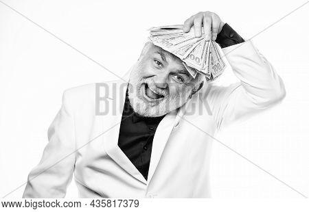 Savings System Life Insurance. Cash Security. Rich Grandpa. Successful Lucky Businessman. Senior Man