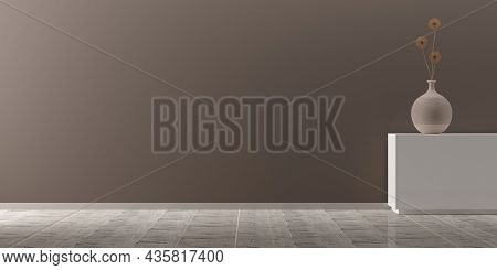 Interior Background Of Modern Empty Room With Brown Wall, Vase With Dry Flower On Sideboard And Wood