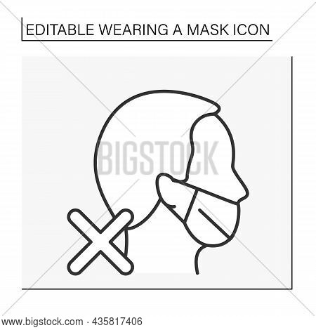 Face Mask Line Icon. Incorrect Mask Wearing. Open Nose. Covid19. Healthcare Concept. Isolated Vector