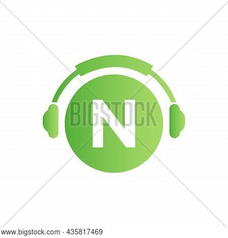 Headphone Template On N Letter. Letter N Music Logo Design. Dj Music And Podcast Logo Design Headpho