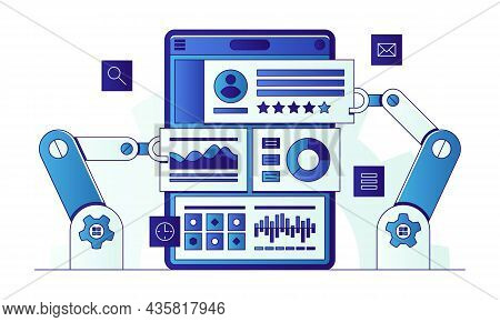 Business Process Automation Process Flat Vector Illustration