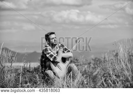 United With Nature. Musician Looking For Inspiration. Dreamy Wanderer. Peaceful Mood. Guy With Guita