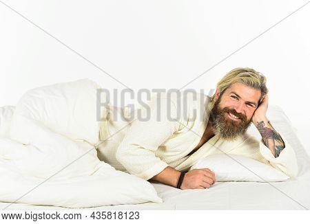 Man In Underwear. Guy Bathrobe Wear The Bathroom. Handsome Man In The Morning. Bearded Man In White