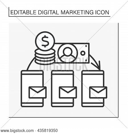 Salary Line Icon. Share Mailing List To Customers Smartphones.digital Marketing Concept. Isolated Ve