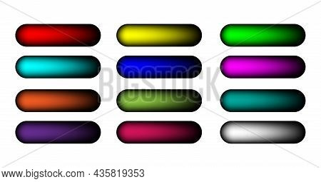 Holographic Gradients Set Bars Buttons. Multicolor Call To Action Buttons, Brilliant Design Fluid Ge