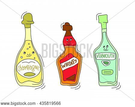 Champagne, Whiskey And Vermouth With Smile On White Background. Cartoon Sketch Graphic Design. Doodl
