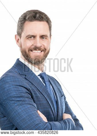 Professional Confidence. Confident Man Portrait Isolated On White. Happy Professional Man