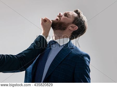 Professional Man Manager In Suit Got Blow Jaw Punch Fisticuff, Workplace Violence.