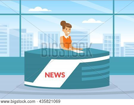 Woman Tv Reporter At Desk In Studio Announcing The News Vector Illustration