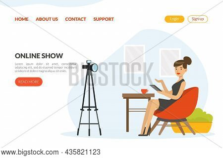 Woman Tv Reporter In Studio Hosting Show Vector Landing Page Template