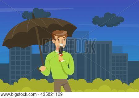 Man Tv Reporter Under Umbrella Speaking Into Microphone Announcing Information Vector Illustration