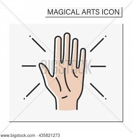 Predictions Color Icon. Divination, Future Prediction.lines Of Fate On Palm. Magical Arts Concept. I