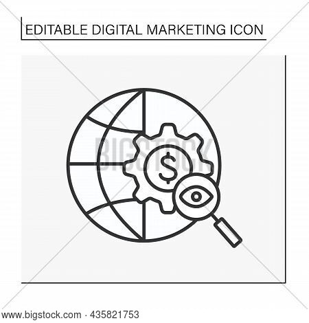 Global Searching Line Icon. Digital Strategy. Increase Visibility Of Websites In Search Engine Resul