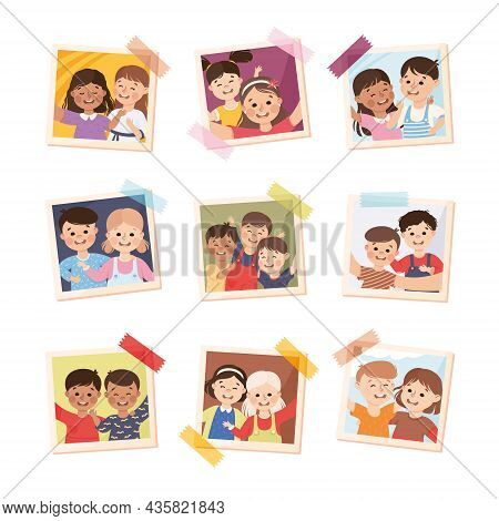Photo Card Or Snapshot With Happy Smiling Children Sticking On The Wall Vector Set