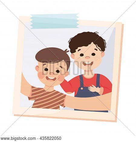 Happy Little Boy On Photo Card Or Snapshot Sticking On The Wall Vector Illustration. Excited Kid Wit