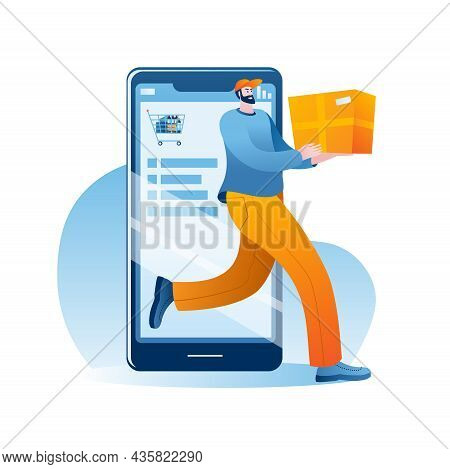 The Courier Leaves With The Goods From The Online Supermarket On The Smartphone. The Concept Of A Ve