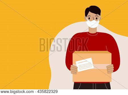 Delivery Of Goods During The Prevention Of The Virus. Courier In A Face Mask With A Box In His Hands
