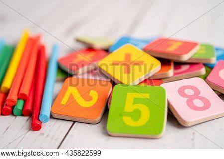 Math Number Colorful, Education Study Mathematics Learning Teach Concept.