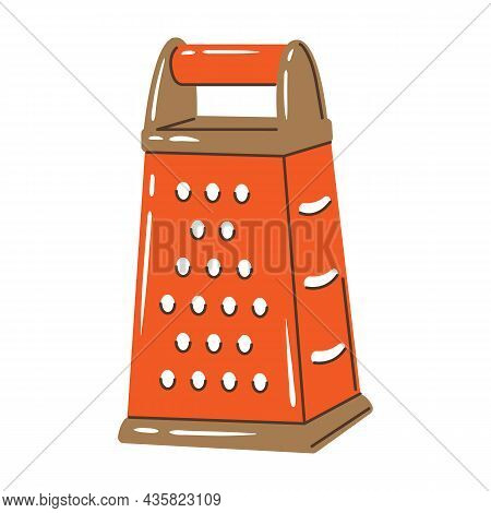 Illustration Of Cooking Grater. Stylized Kitchen And Restaurant Utensil.