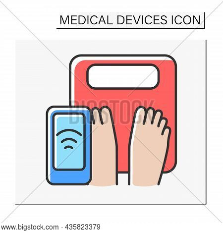 Appliance Color Icon. Body Weight On A Smart Scale. Diet. Control Weight By Device. Healthcare. Reco
