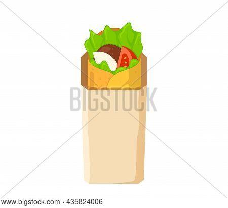 Shawarma Fast Food Meat Roll In Paper Packaging. Arabic Eastern Toasty Doner Kebab Meal. Cartoon Sha