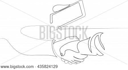 Close Up Of Two Businessmen Shaking Hands In Warehouse. Vector Illustration