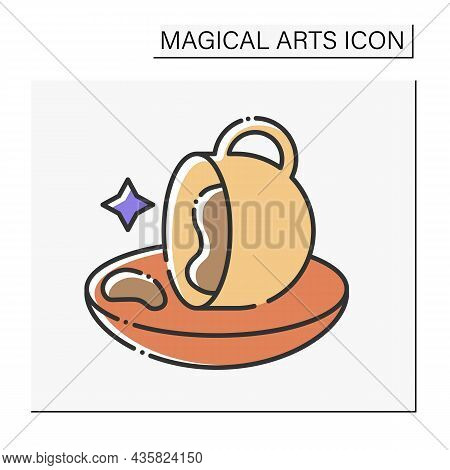 Magic Color Icon. Coffee Grounds Prediction. Divination. Magical Arts Concept. Isolated Vector Illus
