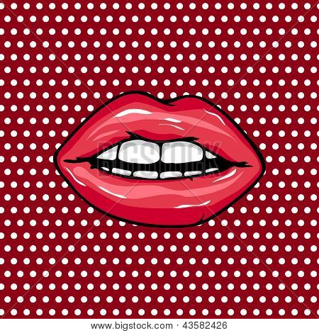 Sweet Pair Of Glossy Vector Lips