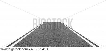 Asphalt Road Isolated On White Background. Highway.