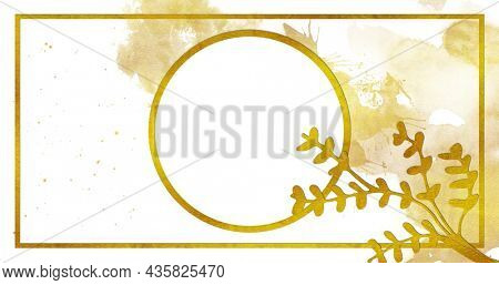 Image of white circle with gold outline, gold plant leaves, paint splash and gold frame on white background, digitally generated image.
