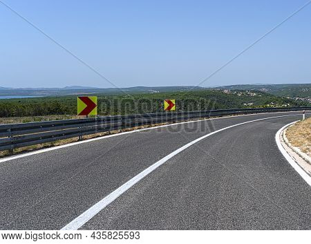 A Road With Sharp Turns In The Mountains. Serpentine Highway.
