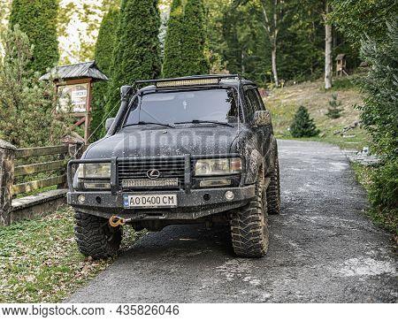 Uzhgorod, Ukraine - October 09, 2021: Old Suv Lexus In The Woods.