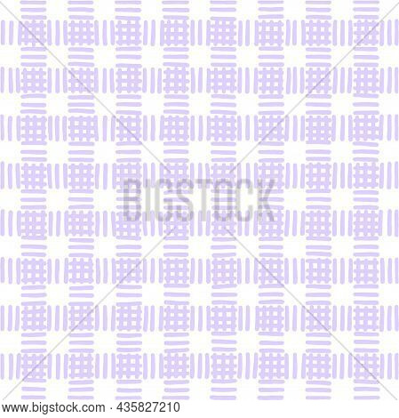 Pastel Light Lilac Vintage Checkered Background. Space For Graphic Design. Checkered Texture. Classi