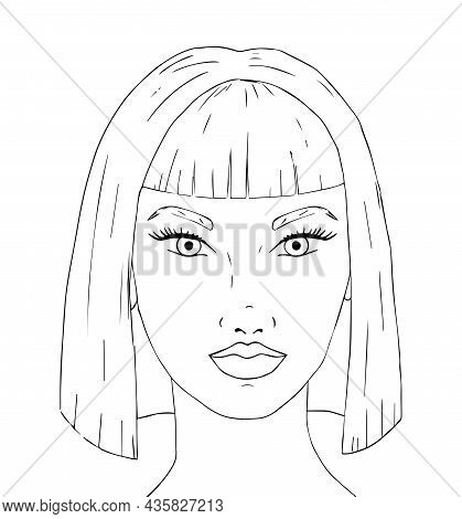 Doodle Girl Face With Fantasy Hair Coloring Page For Adults. Fantastic Graphic Artwork. Hand Drawn S