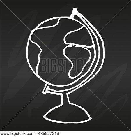 Globe Hand Drawn On Black Chalkboard Simple Flat Vector Illustration