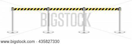 Realistic Vector Retractable Belt Stanchion. Crowd Control Barrier Posts With Caution Strap. Queue L