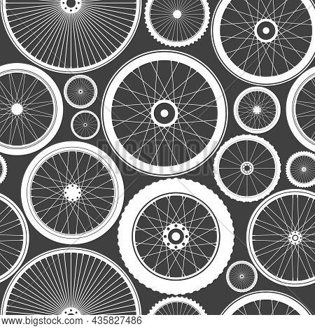 Seamless Pattern With Bicycle Wheels. Bike Rubber Tyre Silhouettes. Fitness Cycle, Road And Mountain