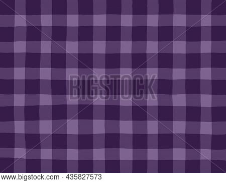 Purple Lilac Vintage Checkered Background. Space For Graphic Design. Checkered Texture. Classic Chec