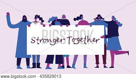 Together We Are Stronger And Hands Touching Each Other Design, People Multiethnic Race And Community