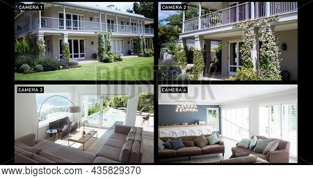 Composite of views from four security cameras ishowing family home exterior and living room. surveillance and domestic security technology concept, digital composite image.
