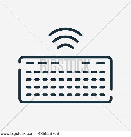 Wireless Keyboard Line Icon. Computer Keypad Linear Icon. Editable Stroke. Isolated Vector Illustrat