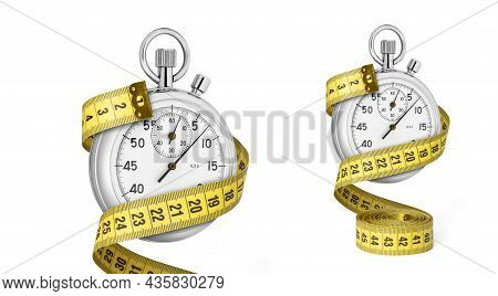 Stopwatch Set And Yellow Measuring Tape. Slimming Concept Using Workout. Isolated On White Backgroun