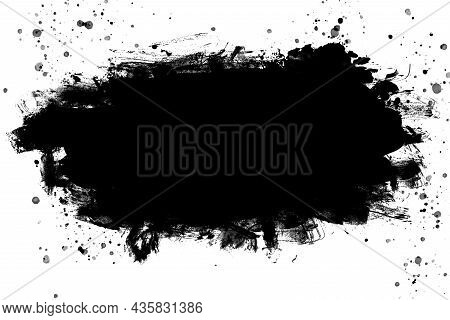 Black Abstract Watercolor Paint Brush Texture. Background. Copy Space.