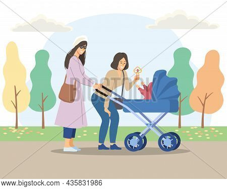 Two Moms In Park. Parents Walking With Their Children, Cutie. Woman Shows Toy To Child, Girl With St
