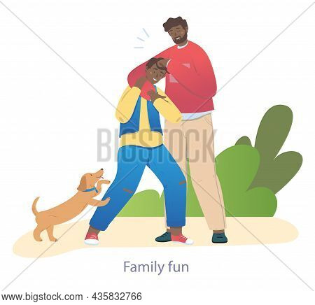 Dad Laughs With His Son. Family On Walk, Fresh Air. Friends, Play, Dog, Pets. Active Rest, Park, Nat