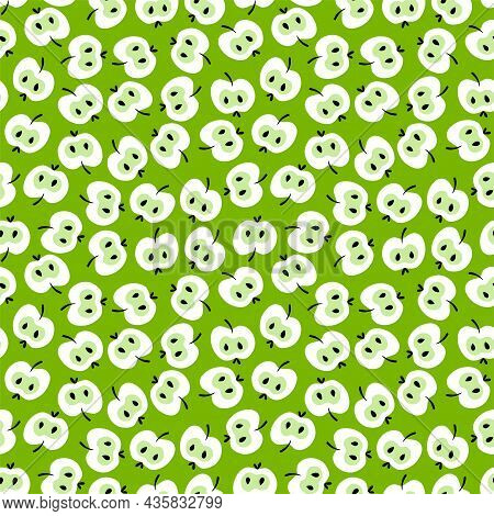 Fresh Green Halved Apples Seamless Pattern Vector. Hand-drawn Apples Monochrome Chaotic Seamless Pat