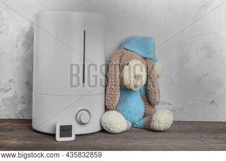 Air Humidifier And Electronic Hygrometer. Knitted Toy Dog. Humidity In The Children's Room. Space Fo