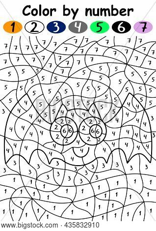 Cute Bat Color By Number Vector Illustration. Happy Halloween Educational Coloring Page With 1-7 Num