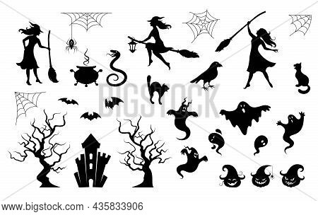 Halloween Characters Silhouettes And Icons Set. Scary Ghosts, Zombies, Witches And Scary Animals. Ma